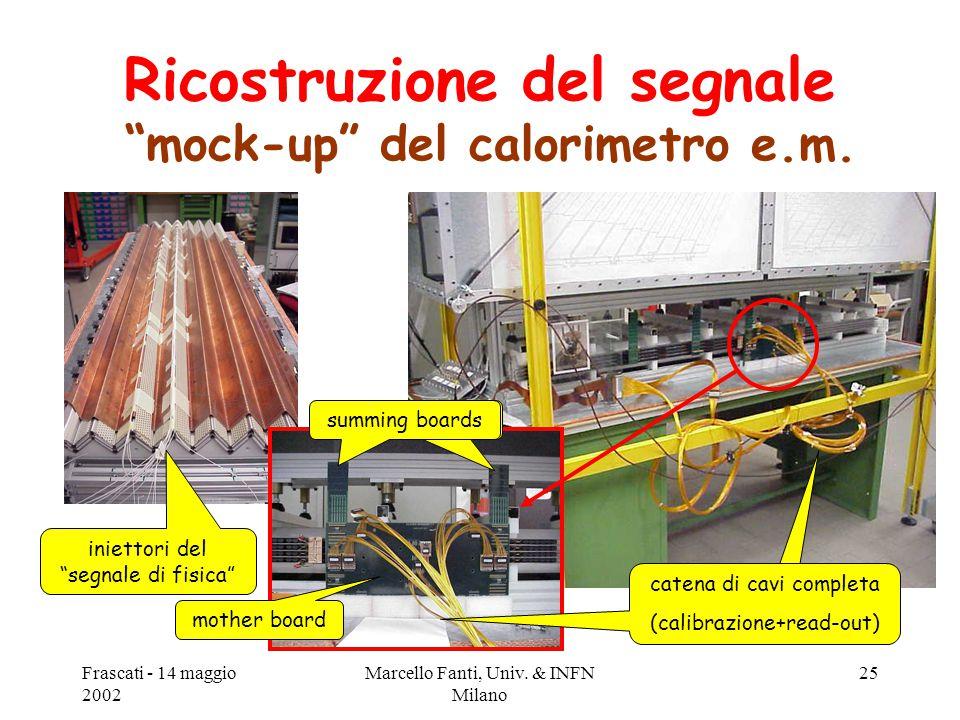 """Frascati - 14 maggio 2002 Marcello Fanti, Univ. & INFN Milano 25 Ricostruzione del segnale """"mock-up"""" del calorimetro e.m. mother board summing boards"""