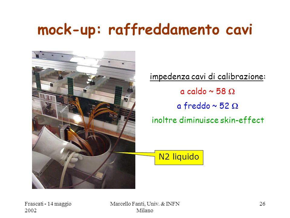 Frascati - 14 maggio 2002 Marcello Fanti, Univ. & INFN Milano 26 mock-up: raffreddamento cavi N2 liquido impedenza cavi di calibrazione: a caldo ~ 58