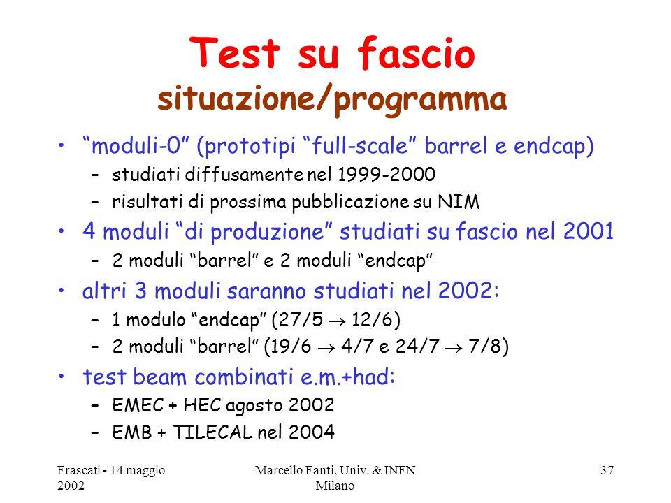 """Frascati - 14 maggio 2002 Marcello Fanti, Univ. & INFN Milano 37 Test su fascio situazione/programma """"moduli-0"""" (prototipi """"full-scale"""" barrel e endca"""