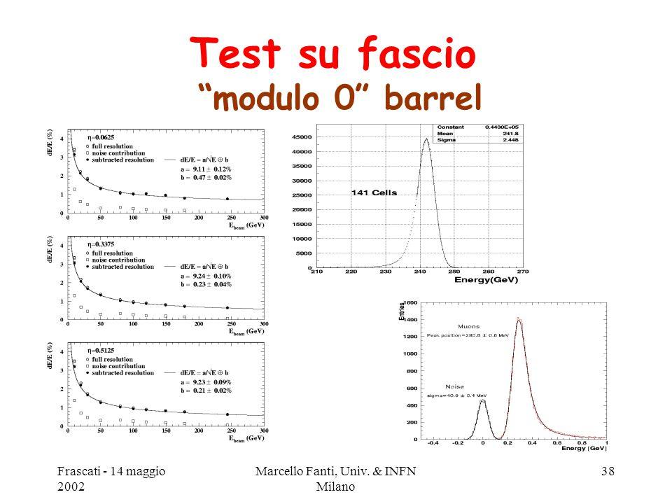 """Frascati - 14 maggio 2002 Marcello Fanti, Univ. & INFN Milano 38 Test su fascio """"modulo 0"""" barrel"""