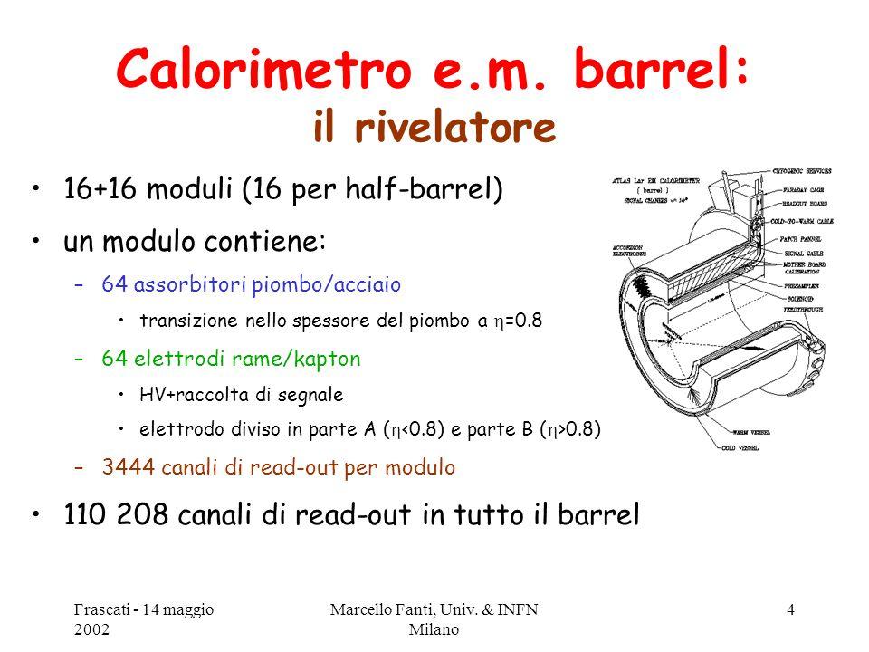 Frascati - 14 maggio 2002 Marcello Fanti, Univ. & INFN Milano 4 Calorimetro e.m. barrel: il rivelatore 16+16 moduli (16 per half-barrel) un modulo con