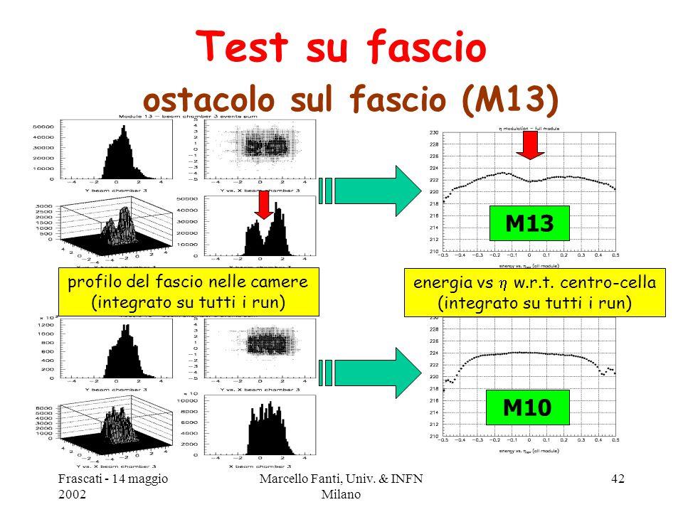 Frascati - 14 maggio 2002 Marcello Fanti, Univ. & INFN Milano 42 M13 M10 Test su fascio ostacolo sul fascio (M13) profilo del fascio nelle camere (int