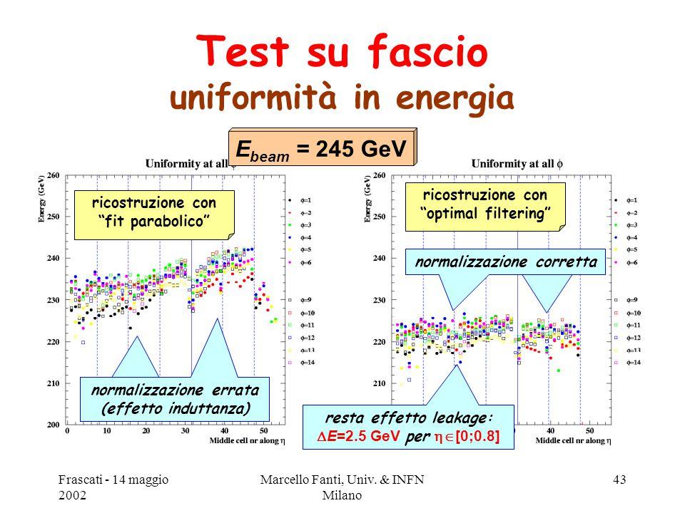 """Frascati - 14 maggio 2002 Marcello Fanti, Univ. & INFN Milano 43 Test su fascio uniformità in energia ricostruzione con """"fit parabolico"""" ricostruzione"""