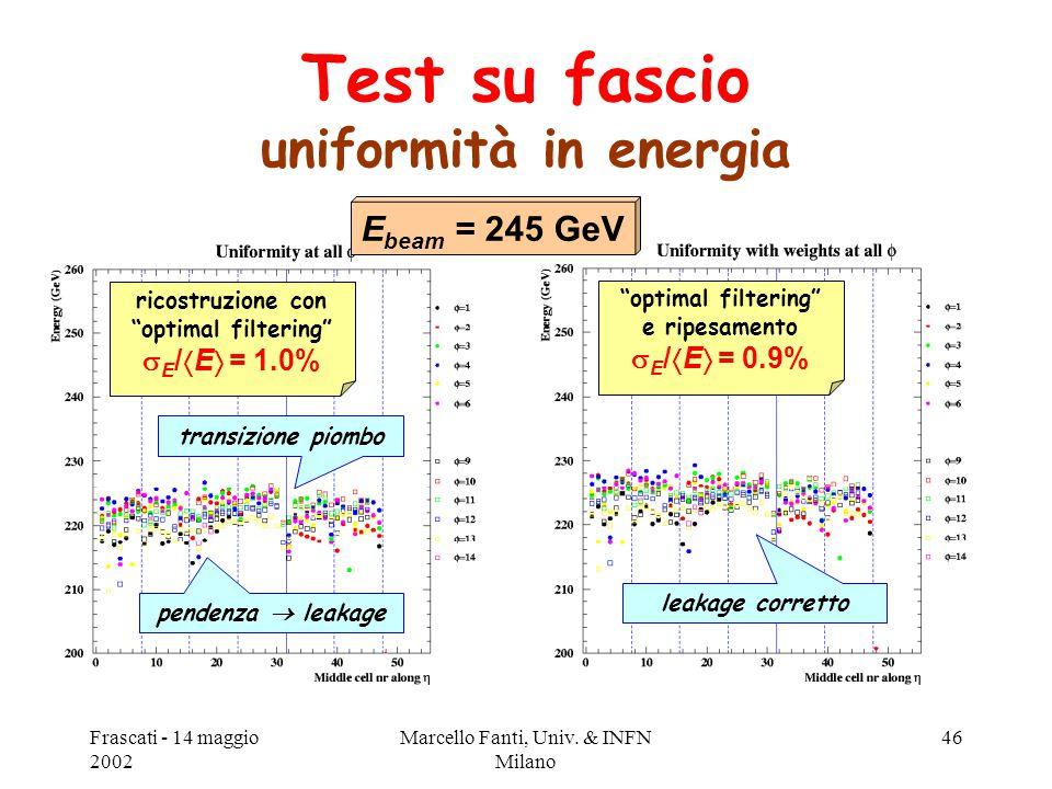 """Frascati - 14 maggio 2002 Marcello Fanti, Univ. & INFN Milano 46 Test su fascio uniformità in energia ricostruzione con """"optimal filtering""""  E /  E"""