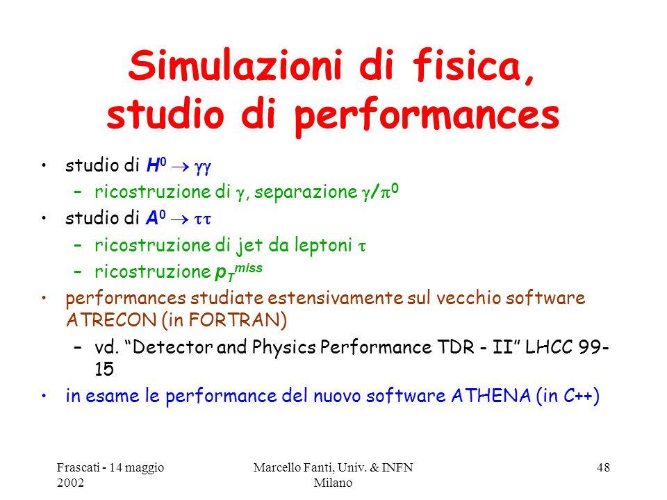 Frascati - 14 maggio 2002 Marcello Fanti, Univ. & INFN Milano 48 Simulazioni di fisica, studio di performances studio di H 0   –ricostruzione di ,