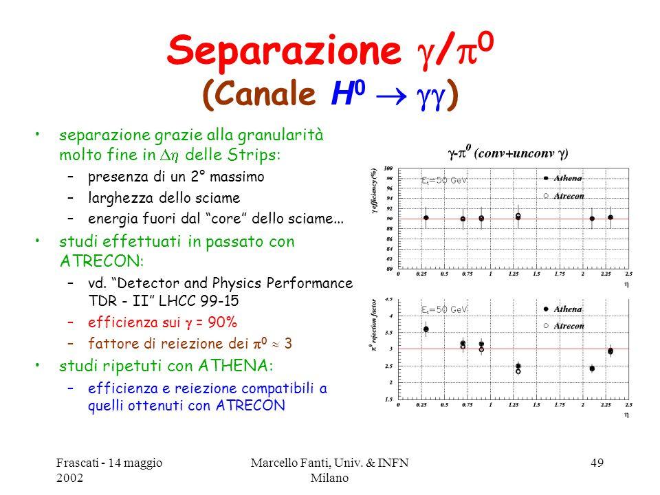 Frascati - 14 maggio 2002 Marcello Fanti, Univ. & INFN Milano 49 Separazione  /  0 (Canale H 0   ) separazione grazie alla granularità molto fine