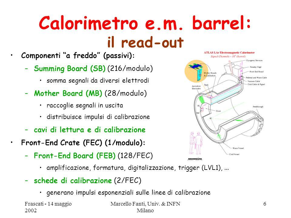 """Frascati - 14 maggio 2002 Marcello Fanti, Univ. & INFN Milano 6 Componenti """"a freddo"""" (passivi): –Summing Board (SB) (216/modulo) somma segnali da div"""