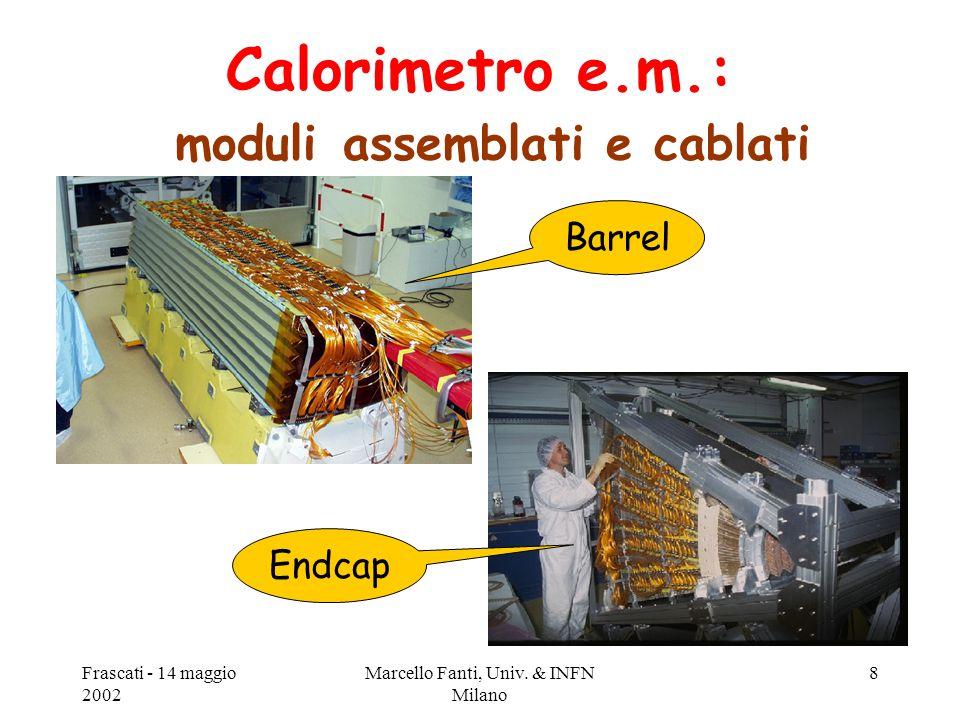 Frascati - 14 maggio 2002 Marcello Fanti, Univ. & INFN Milano 8 Calorimetro e.m.: moduli assemblati e cablati Barrel Endcap