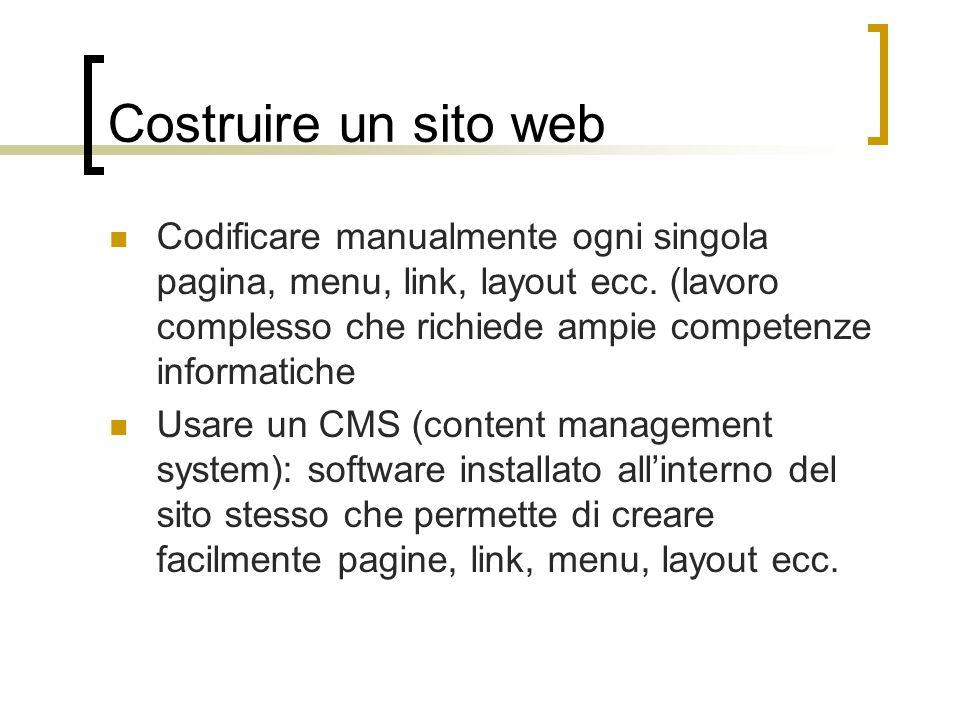Costruire un sito web Codificare manualmente ogni singola pagina, menu, link, layout ecc. (lavoro complesso che richiede ampie competenze informatiche