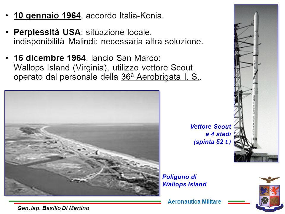 10 gennaio 1964, accordo Italia-Kenia. Perplessità USA: situazione locale, indisponibilità Malindi: necessaria altra soluzione. 15 dicembre 1964, lanc