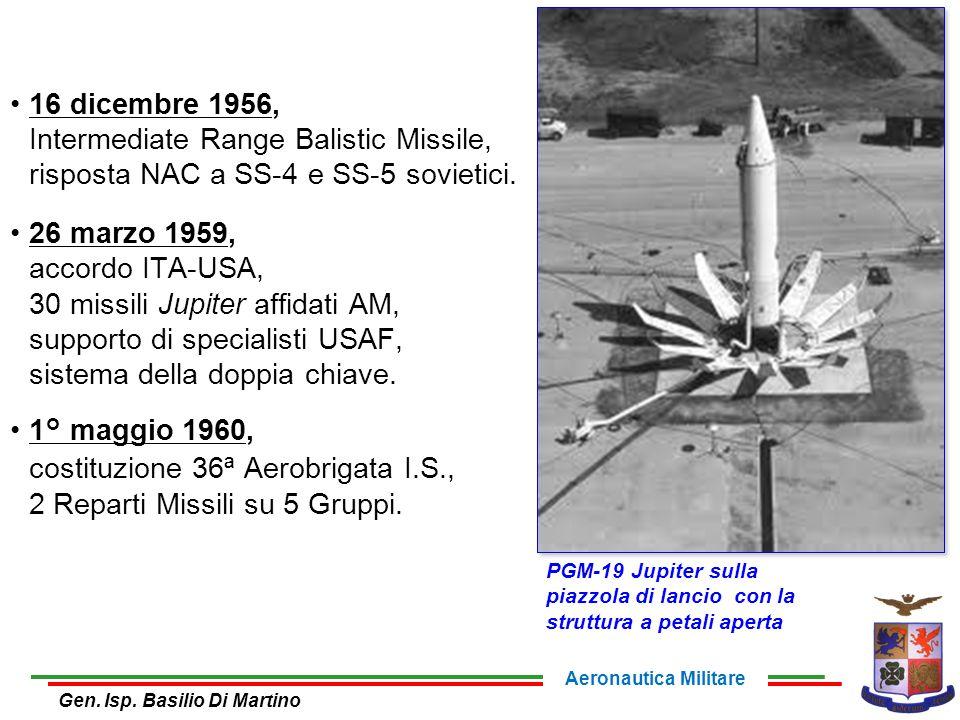 16 dicembre 1956, Intermediate Range Balistic Missile, risposta NAC a SS-4 e SS-5 sovietici. 26 marzo 1959, accordo ITA-USA, 30 missili Jupiter affida