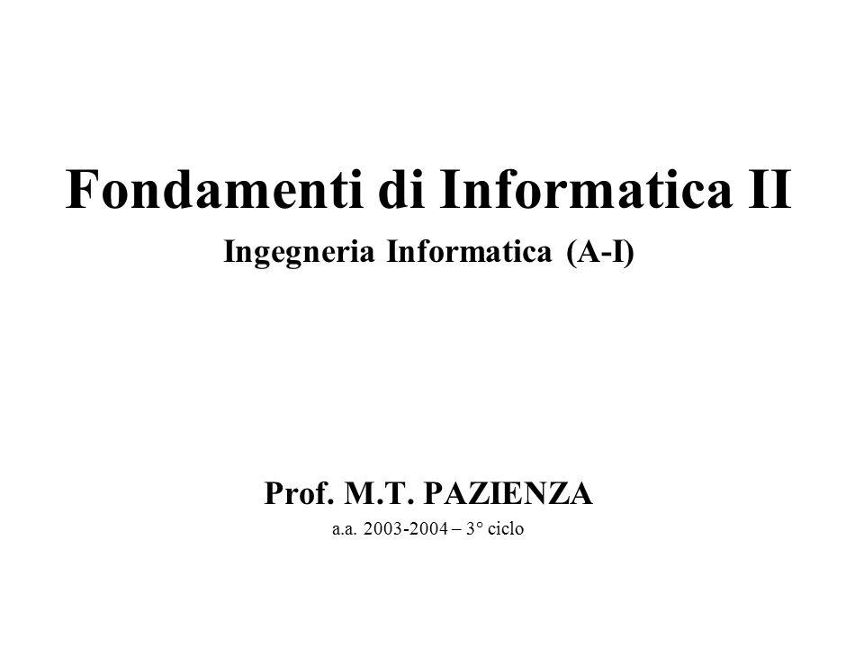 Fondamenti di Informatica II Ingegneria Informatica (A-I) Prof. M.T. PAZIENZA a.a. 2003-2004 – 3° ciclo