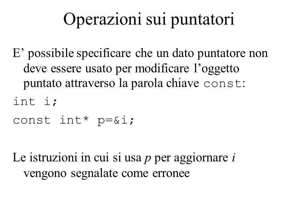 Operazioni sui puntatori E' possibile specificare che un dato puntatore non deve essere usato per modificare l'oggetto puntato attraverso la parola chiave const : int i; const int* p=&i; Le istruzioni in cui si usa p per aggiornare i vengono segnalate come erronee