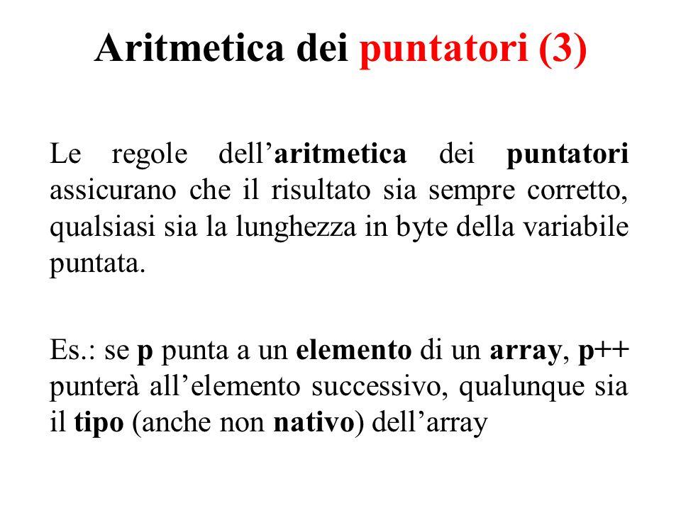 Aritmetica dei puntatori (3) Le regole dell'aritmetica dei puntatori assicurano che il risultato sia sempre corretto, qualsiasi sia la lunghezza in byte della variabile puntata.