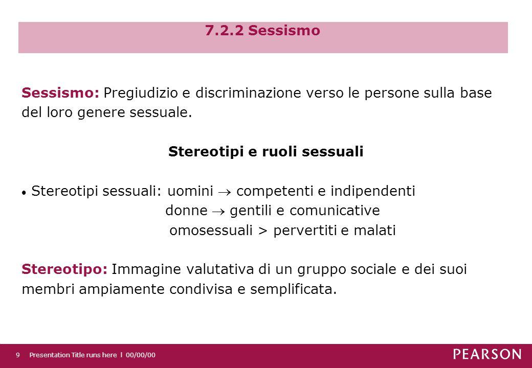 7.2.2 Sessismo Presentation Title runs here l 00/00/009 Sessismo: Pregiudizio e discriminazione verso le persone sulla base del loro genere sessuale.