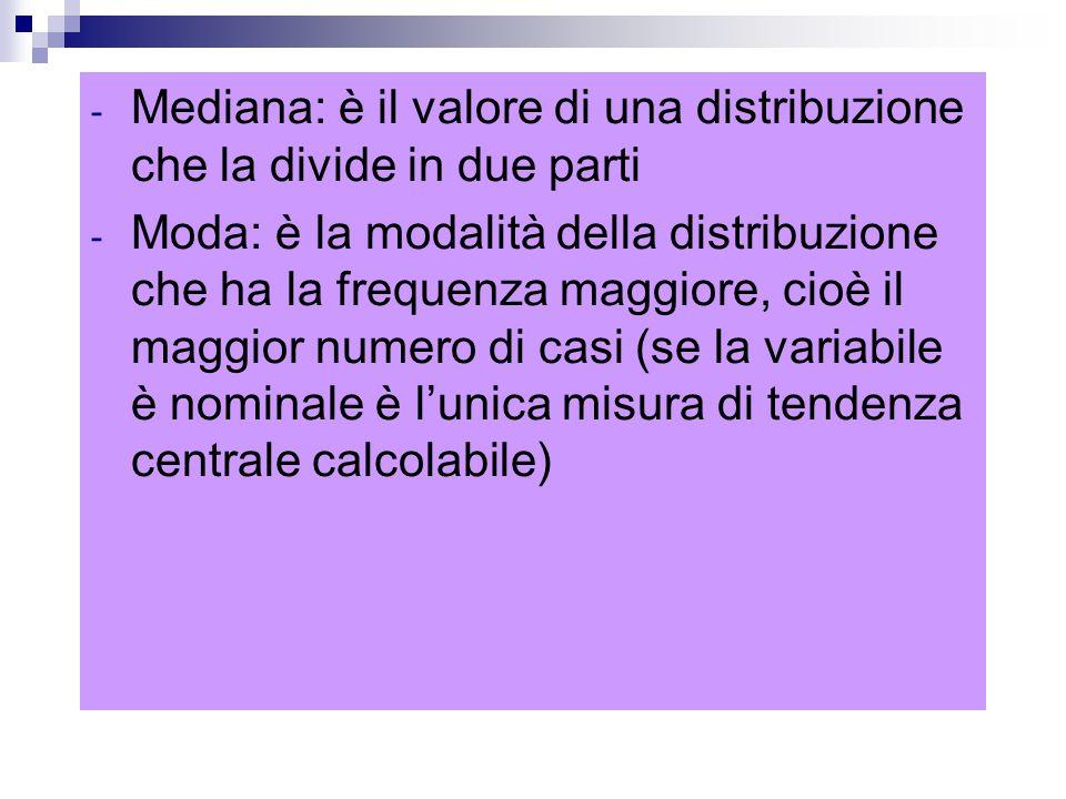- Mediana: è il valore di una distribuzione che la divide in due parti - Moda: è la modalità della distribuzione che ha la frequenza maggiore, cioè il