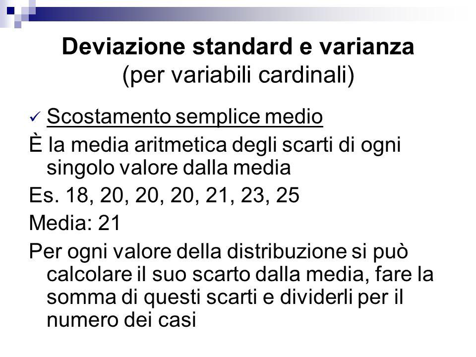 Deviazione standard e varianza (per variabili cardinali) Scostamento semplice medio È la media aritmetica degli scarti di ogni singolo valore dalla me
