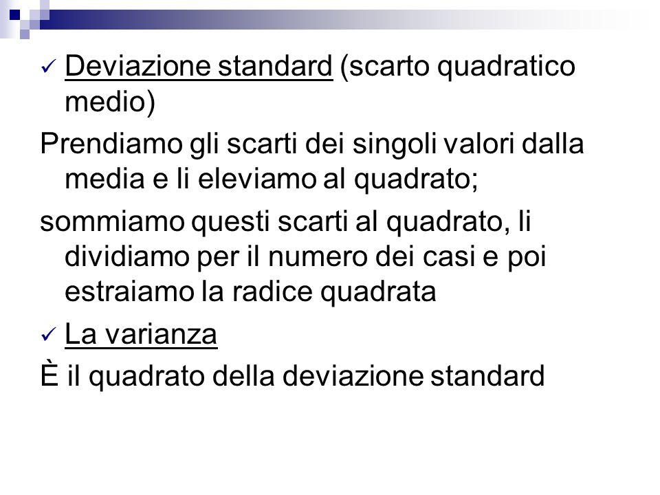 Deviazione standard (scarto quadratico medio) Prendiamo gli scarti dei singoli valori dalla media e li eleviamo al quadrato; sommiamo questi scarti al