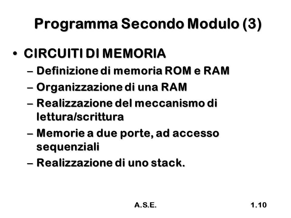 A.S.E.1.10 Programma Secondo Modulo (3) CIRCUITI DI MEMORIACIRCUITI DI MEMORIA –Definizione di memoria ROM e RAM –Organizzazione di una RAM –Realizzaz
