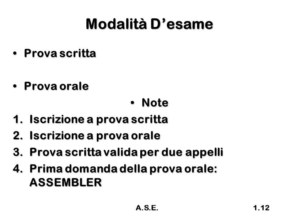 A.S.E.1.12 Modalità D'esame Prova scrittaProva scritta Prova oraleProva orale NoteNote 1.Iscrizione a prova scritta 2.Iscrizione a prova orale 3.Prova