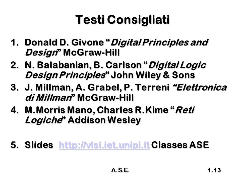 "A.S.E.1.13 Testi Consigliati 1.Donald D. Givone ""Digital Principles and Design"" McGraw-Hill 2.N. Balabanian, B. Carlson ""Digital Logic Design Principl"