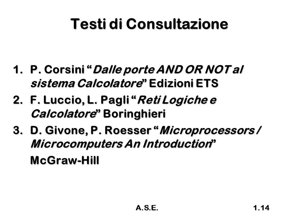 """A.S.E.1.14 Testi di Consultazione 1.P. Corsini """"Dalle porte AND OR NOT al sistema Calcolatore"""" Edizioni ETS 2.F. Luccio, L. Pagli """"Reti Logiche e Calc"""