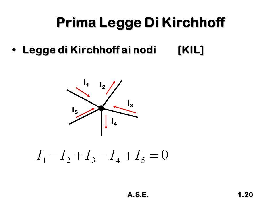 A.S.E.1.20 Prima Legge Di Kirchhoff Legge di Kirchhoff ai nodi[KIL]Legge di Kirchhoff ai nodi[KIL] I1I1 I2I2 I3I3 I4I4 I5I5