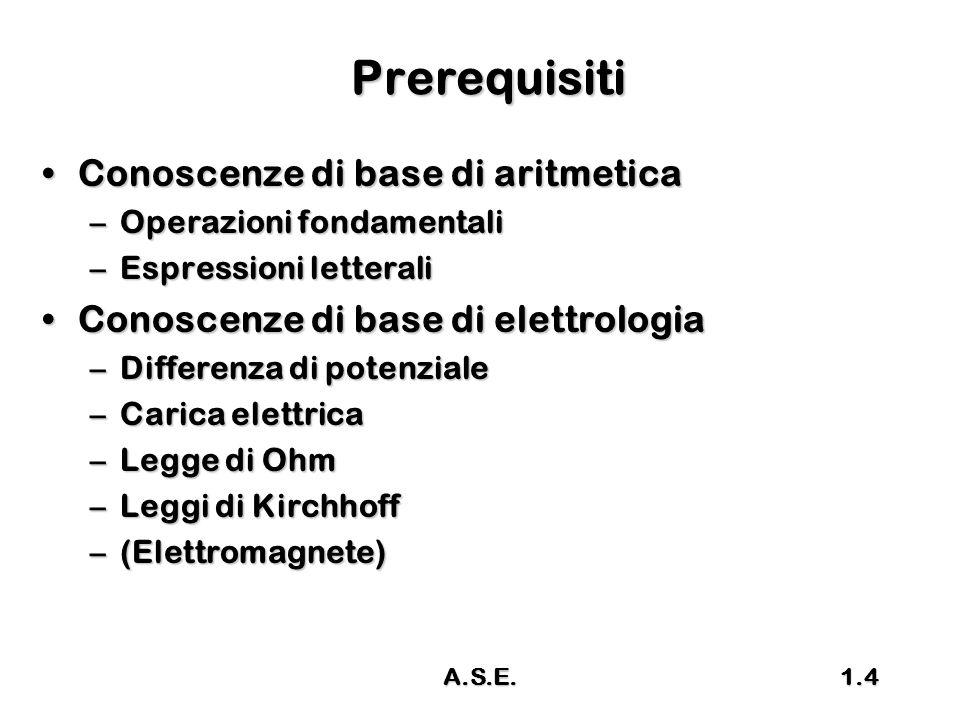 A.S.E.1.4 Prerequisiti Conoscenze di base di aritmeticaConoscenze di base di aritmetica –Operazioni fondamentali –Espressioni letterali Conoscenze di