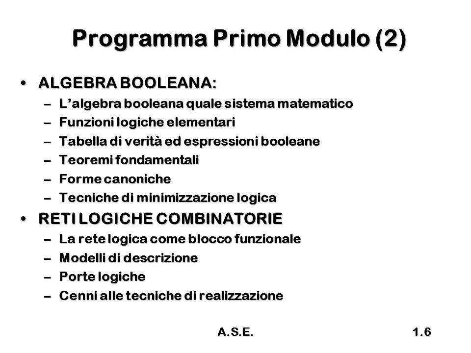 A.S.E.1.6 Programma Primo Modulo (2) ALGEBRA BOOLEANA:ALGEBRA BOOLEANA: –L'algebra booleana quale sistema matematico –Funzioni logiche elementari –Tab