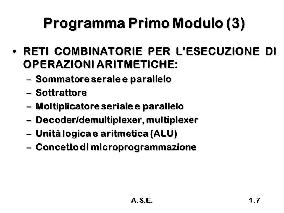 A.S.E.1.7 Programma Primo Modulo (3) RETI COMBINATORIE PER L'ESECUZIONE DI OPERAZIONI ARITMETICHE:RETI COMBINATORIE PER L'ESECUZIONE DI OPERAZIONI ARI
