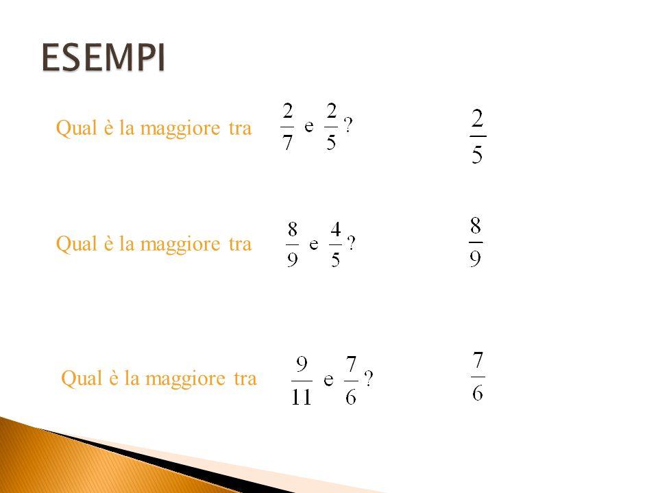 """ESEMPIO Qual è la maggiore tra le seguenti frazioni? 8 × 7 = 56 11 × 5 = 55 Si moltiplicano i due termini """"in croce"""" Si confrontano i due prodotti ott"""