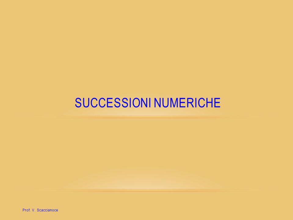 SUCCESSIONI NUMERICHE Prof. V. Scaccianoce