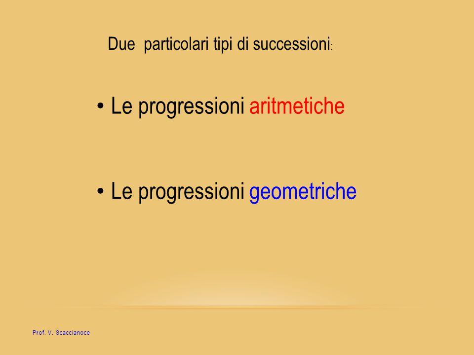 Due particolari tipi di successioni : Le progressioni aritmetiche Le progressioni geometriche Prof. V. Scaccianoce