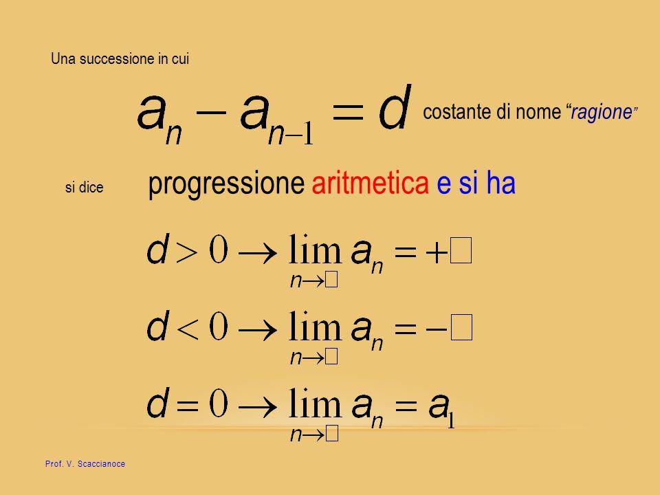 """Una successione in cui costante di nome """" ragione """" si dice progressione aritmetica e si ha Prof. V. Scaccianoce"""