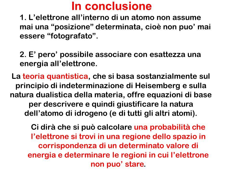 """1. L'elettrone all'interno di un atomo non assume mai una """"posizione"""" determinata, cioè non puo' mai essere """"fotografato"""". 2. E' pero' possibile assoc"""