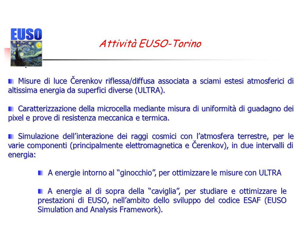 Attività EUSO-Torino Misure di luce Čerenkov riflessa/diffusa associata a sciami estesi atmosferici di altissima energia da superfici diverse (ULTRA).
