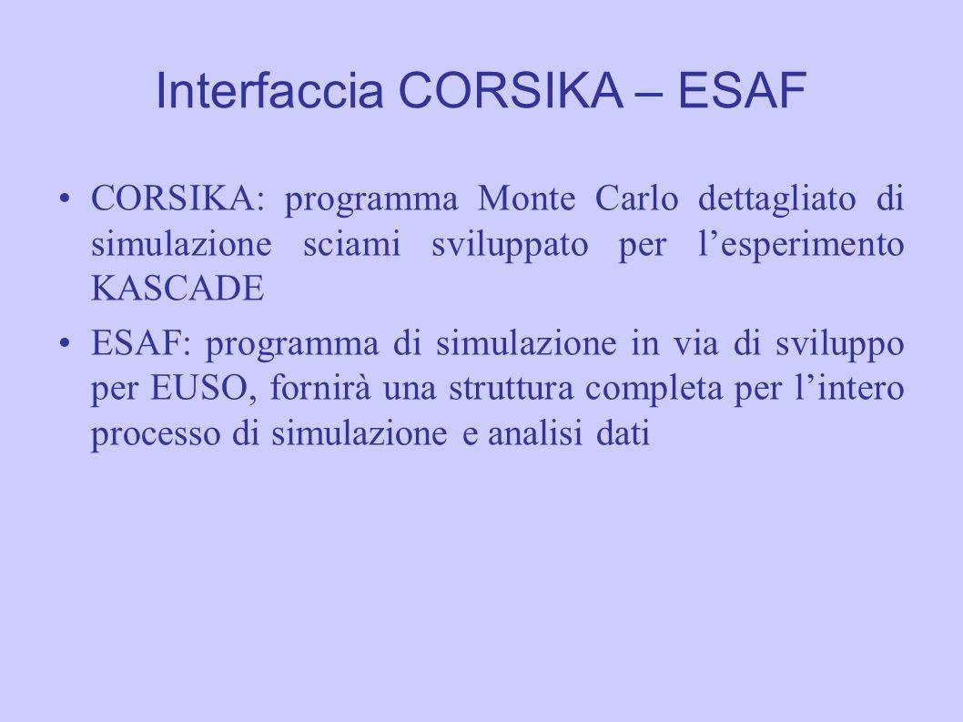 Interfaccia CORSIKA – ESAF CORSIKA: programma Monte Carlo dettagliato di simulazione sciami sviluppato per l'esperimento KASCADE ESAF: programma di si