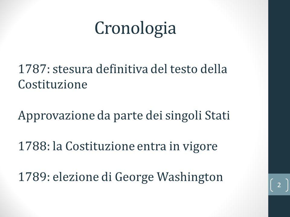 Cronologia 2 1787: stesura definitiva del testo della Costituzione Approvazione da parte dei singoli Stati 1788: la Costituzione entra in vigore 1789: elezione di George Washington