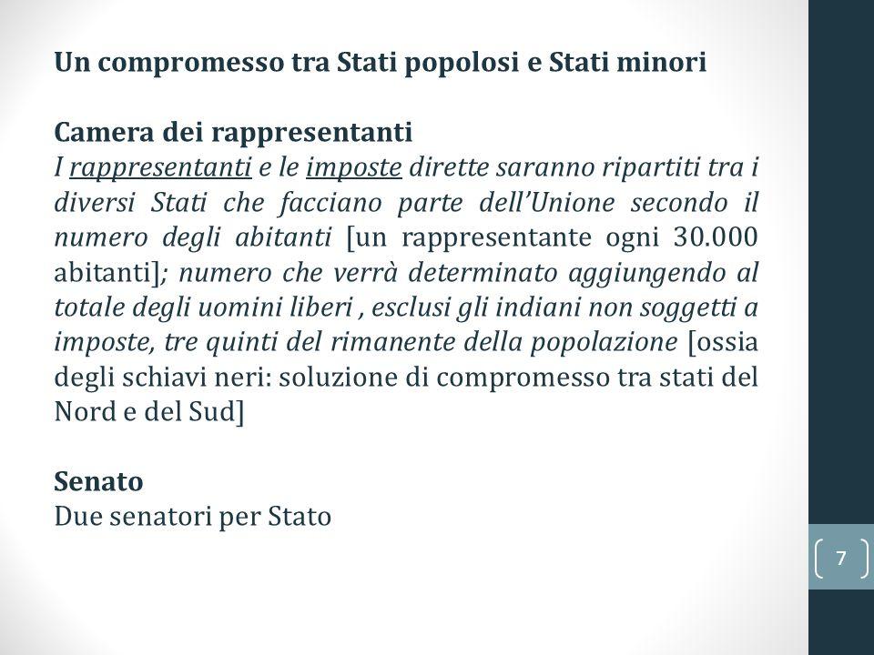 7 Un compromesso tra Stati popolosi e Stati minori Camera dei rappresentanti I rappresentanti e le imposte dirette saranno ripartiti tra i diversi Sta