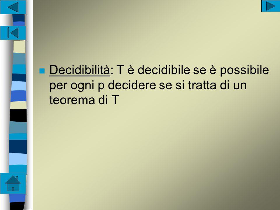 n Completezza:  p T->( p aut non p) n ossia per ogni p, T è capace di dimostrare p o non p n ossia è impossibile formulare un nuovo postulato indipendente da quelli assegnati n ossia è in grado di decidere il valore di verità di una sua proposizione