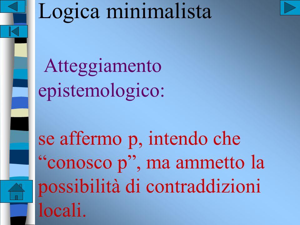 Logica intuizionistica Atteggiamento epistemologico: se affermo p, intendo che conosco p , e ogni contraddizione è fatale.