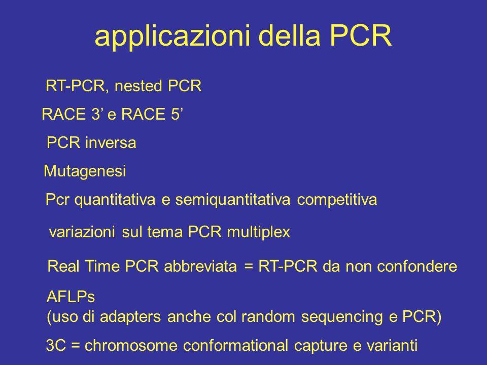 applicazioni della PCR RT-PCR, nested PCR PCR inversa RACE 3' e RACE 5' variazioni sul tema PCR multiplex Real Time PCR abbreviata = RT-PCR da non con
