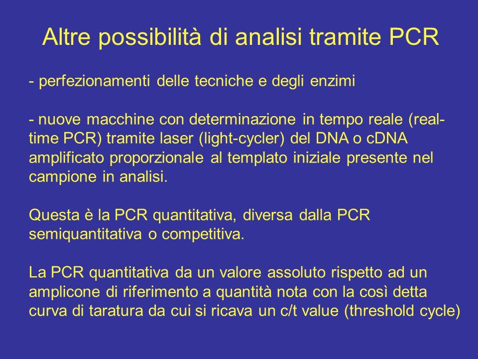 Altre possibilità di analisi tramite PCR - perfezionamenti delle tecniche e degli enzimi - nuove macchine con determinazione in tempo reale (real- tim