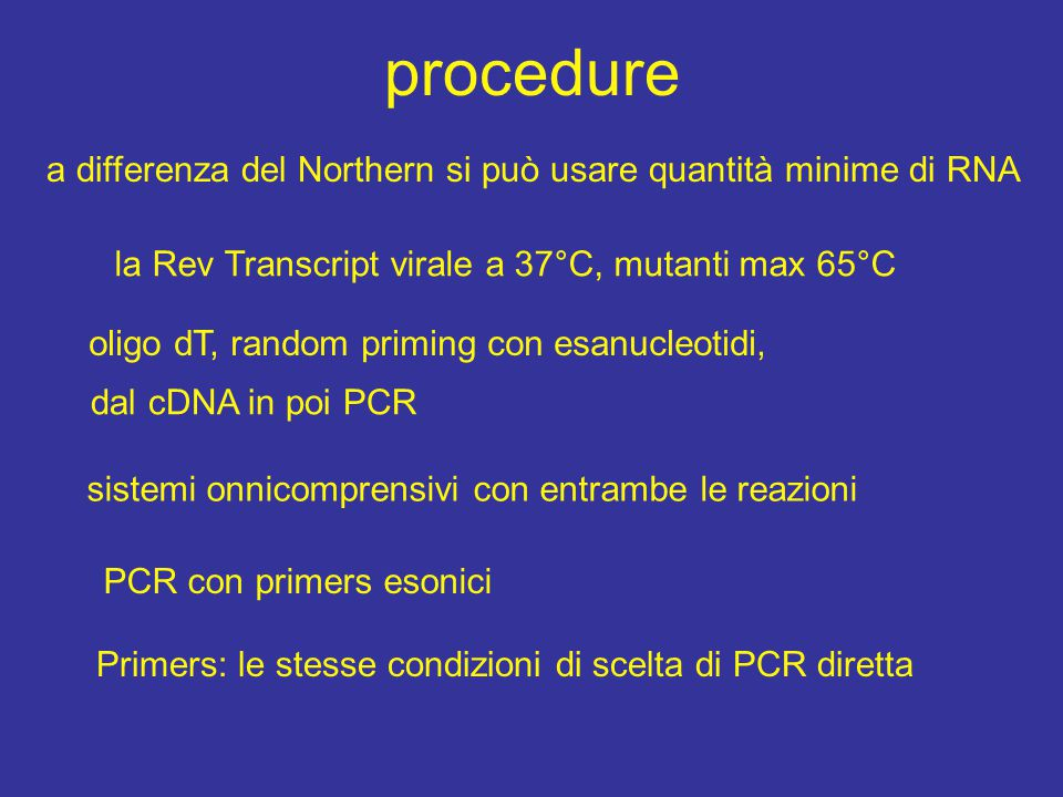 procedure la Rev Transcript virale a 37°C, mutanti max 65°C oligo dT, random priming con esanucleotidi, dal cDNA in poi PCR sistemi onnicomprensivi co
