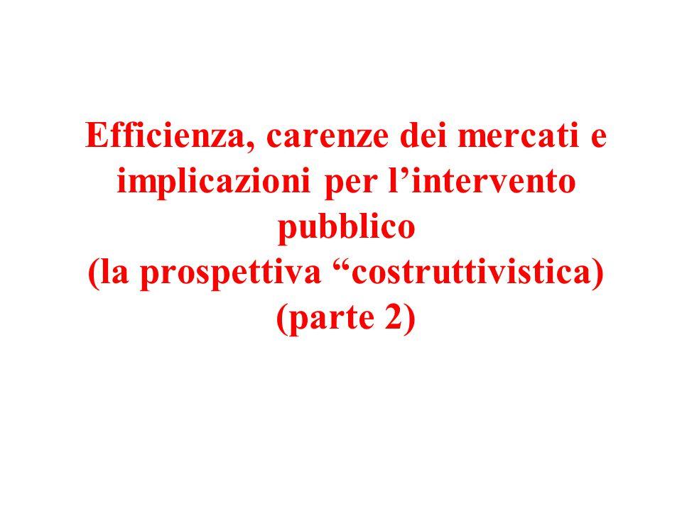 """Efficienza, carenze dei mercati e implicazioni per l'intervento pubblico (la prospettiva """"costruttivistica) (parte 2)"""