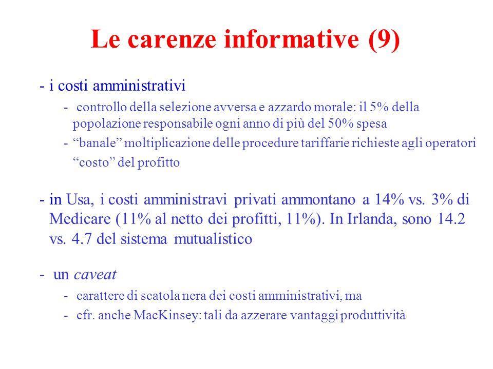 Le carenze informative (9) -i costi amministrativi - controllo della selezione avversa e azzardo morale: il 5% della popolazione responsabile ogni ann