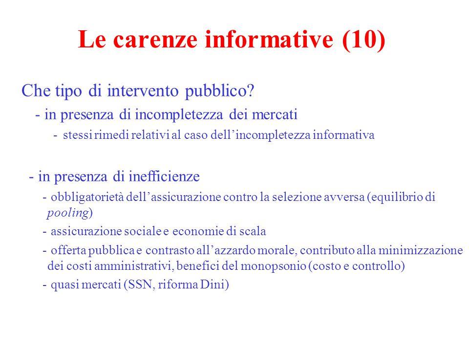Le carenze informative (10) Che tipo di intervento pubblico? - in presenza di incompletezza dei mercati -stessi rimedi relativi al caso dell'incomplet