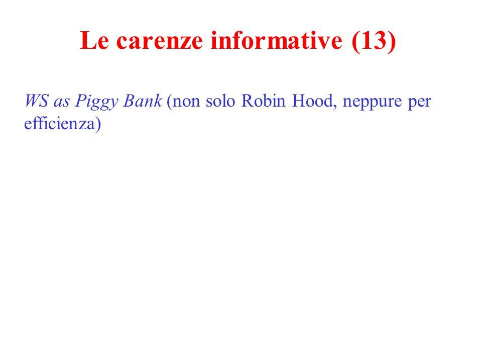 Le carenze informative (13) WS as Piggy Bank (non solo Robin Hood, neppure per efficienza)