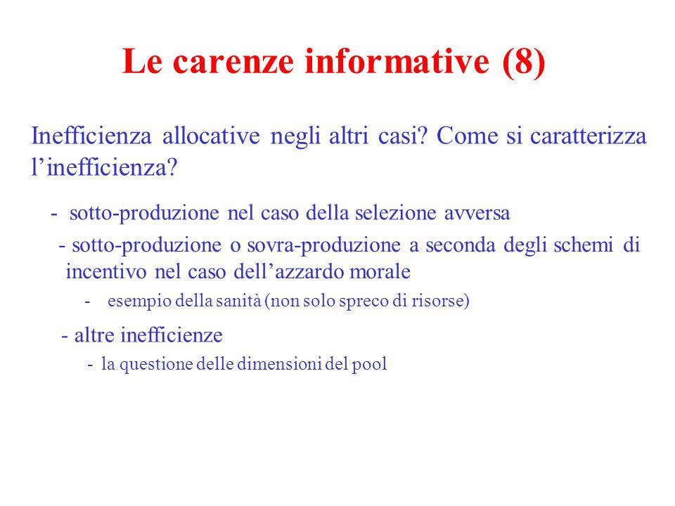 Le carenze informative (8) Inefficienza allocative negli altri casi? Come si caratterizza l'inefficienza? - sotto-produzione nel caso della selezione