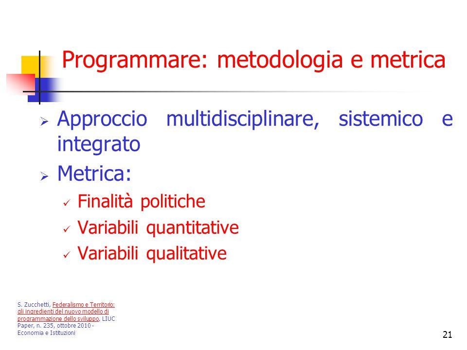 21 Programmare: metodologia e metrica  Approccio multidisciplinare, sistemico e integrato  Metrica: Finalità politiche Variabili quantitative Variabili qualitative S.